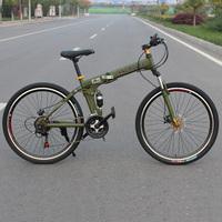 Cool mountain bike 21 24 derailleur 26 carbon steel double shock absorption double disc folding bicycle