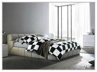 luxury unique plaid bedding set  Quilt duvet comforter cover bed sheet 100% cotton  bed set 4pcs black white stripe bedclothes