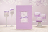 2014 spring new arrival free shipping Romantic Lilac Guest Book with Bow GB003