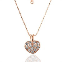 18K Rose Gold Plated Necklaces ! Luxury Fashion Party Women Link Chain With White Crystal Solid Heart Pendant Necklace N016