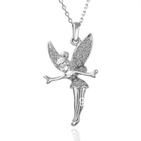 18K White Gold Plated Necklaces ! Luxury Fashion Party Women Link Chain With White Crystal Angel Pendant Necklace N010