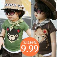 2014 summer bear boys clothing girls clothing baby child short-sleeve T-shirt tx-0234