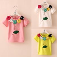 Free shipping new 2014 summer flower leaves fashion girls clothing baby & kids t-shirts baby child o-neck short-sleeve T-shirt