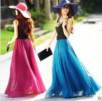 2014 women's expansion bottom chiffon beach dress bohemia half-length full dress