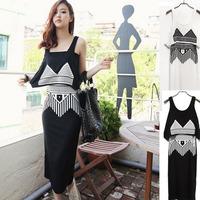 2014 spring women's vintage twinset geometry print tube top slim vest full dress jumpsuit