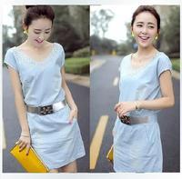 2014 Spring Summer women jeans dress diamante v neck  solid short sleeve newest fashion denim dress with belt