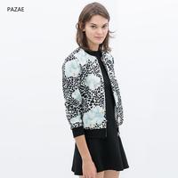 2014 spring fashion leopard print big flower print jacket outerwear pilot jacket baseball uniform
