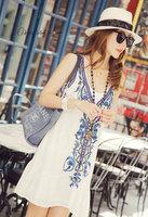 2014 V-neck suspenders beach dress national trend embroidery beading basic flower chiffon one-piece dress