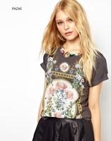 Pazae2014 spring and summer fashion royal print vintage rivet decoration o-neck short-sleeve t-shirt female