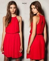 Pazae2014 spring and summer fresh summer halter-neck lacing spaghetti strap long design slim waist one-piece dress