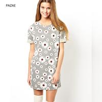 2014 spring and summer brief gentlewomen daisy flower knitted long t-shirt roll-up hem short-sleeve dress