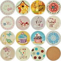 Cattle cork ceramic waste-absorbing slip-resistant jottings circle cup holder cartoon heat pad