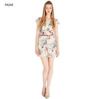 Pazae2014 V-neck slim lily print jumpsuit shorts with belt