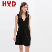 2014 spring black racerback one-piece dress V collar shoulder strap short women dress