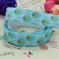 5/8 inch Free shipping Fold Over Elastic FOE peafowl feather printed ribbon headband diy hair band wholesale OEM H2087