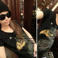 2014 summer street fashion star style eagle thickening cotton short-sleeve T-shirt female