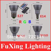 Hot Sale 1X Energy Saving 4W GU10 E27 MR16 RGB E14 LED Bulb Lamp light Color changing with IR Remote