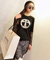 Spring 2014 lace top patchwork sweep long design t-shirt cross basic female long-sleeve shirt