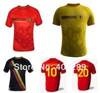 2014 Free Shipping Best Thai Quality Belgium Home Red Away Yellow Black Soccer Jersey LUKAKU HAZARD Football Uniforms Embroidery