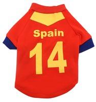 мира Кубок Футбол Футбол Джерси рубашку тройник кошка щенка маленькой собаки одежда - Испания
