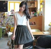 2013  Women's New Free Shipping  Plus Size  Dot Printed Color Block V Collar Dress  Size M/L/XL O13062505