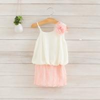 2014 New summer,girls chiffon dress,children slip dress,flowers,corsage,beads,pink/blue/beige,2-8 yrs,5 pcs / lot,wholesale,1004
