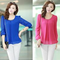 2014 women's summer fashion basic shirt o-neck loose plus size short-sleeve chiffon shirt top