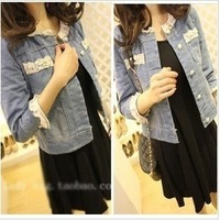 Outerwear spring and autumn female 2014 new arrival casual o-neck jacket short design denim thin outerwear
