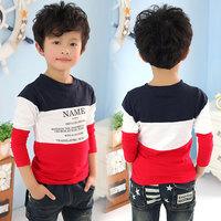Free shipping new 2014 spring color block decoration boys clothing baby child o-neck long-sleeve T-shirt tx-2706 basic shirt