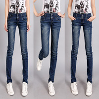 Breasted high waist jeans female trousers skinny pants pencil pants plus size female trousers autumn