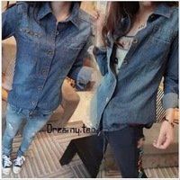 2013 spring and autumn women's slim rivet denim shirt female long-sleeve shirt female