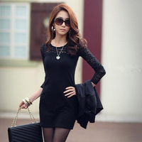 2014 long-sleeve plus size lace patchwork brief slim dress one-piece dress