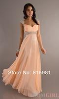 New 2014 Peach Cap Sleeveless Chiffon Long Evening Gown XS S M L XL XXL 3XL 4XL