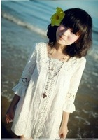 2013  Women's New Free Shipping  Sweet Lace Square Collar Dress White O13021817