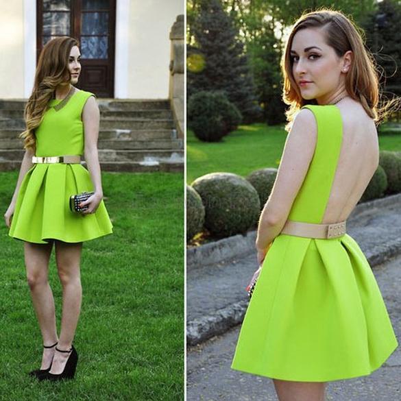 2014 Spring Summer Brand Design Women Neon Green Open Back Dress Backless Party Dresess Short Mini Sexy Sundress Tunics Gowns(China (Mainland))