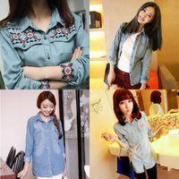 Spring medium-long slim water washed denim shirt female long-sleeve shirt plus size outerwear female
