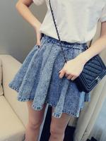 What's Hot 2014 spring all-match high waist elastic waist expansion bottom short half-length skirt vintage denim c15 female