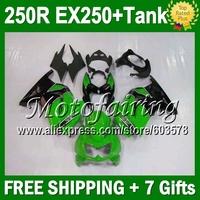 7gifts+Tank+green black Fairing For Kawasaki Ninja 250R  17M315 EX250 green 250 08 09 10 11 12 ZX250R 2008 2009 2010 2011 2012