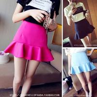 Free shipping 2014 spring women's small fresh ruffle high waist sheds bust skirt slim hip short culottes