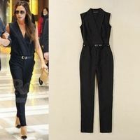 Free Shipping! Hot Women 2015 Fashion Victoria summer slim sleeveless Trousers Jumpsuit, women's jumpsuit sexy rompers club wear