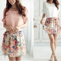 new 2014 summer dress women casual dresses girl dress palace fold sleeve chiffon floral dress female temperament with belt