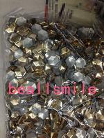 Free shipping 2014 10*10mm Gold Aluminium football Hexagon Panel Pressing Hot Fix Nailhead Rhinestuds Drilling DIY Acc1000pc/lot