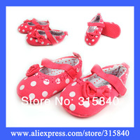 1pair New 2014 Red Canvas Charming Bowknot Girls Baby Shoes Children First Walkers Bebe Shoe  -- ZYS80 Wholesale & Retail