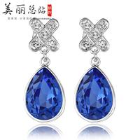 Pear cut Purple Cubic Zirconia Diamond with micro CZ Surround Bridal Earrings
