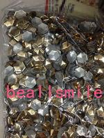 Free shipping 2014 10*10mm Gold Aluminium Football Hexagon Panel Pressing Hot Fix Nailhead Rhinestuds Drilling DIY Acc 500pc/lot