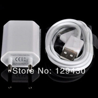 2 in 1 EU Plug Home Charger and USB Cable for iphone 4 4S white Fast shipping
