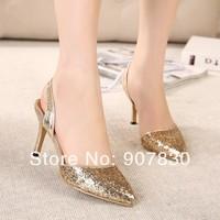Big fashion pointed toe paillette cutout paillette female sandals 3215