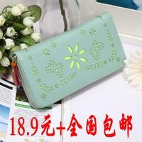 2014 women's long design wallet fresh small wallet day clutch women's handbag wallet cutout wallet  Drop shipping