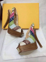 Free Shipping FF colorful canvas color block outstanding  fish toe Wood grain 12cm heel with 2.5cm platform woman new slingback