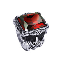 Mens Silver Vintage Ruby Red Cubic Zirconia 316L Stainless Steel Biker Ring US Size 6-12 Men's Jewelry